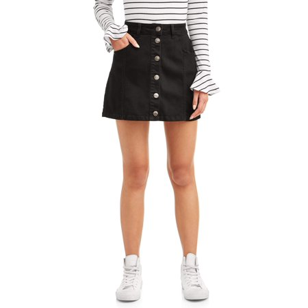 Juniors' Button Front Denim Mini (Dvf Mini Skirt)
