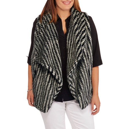 Maxwell Studio Women's Plus-Size Textured Faux Fur Vest