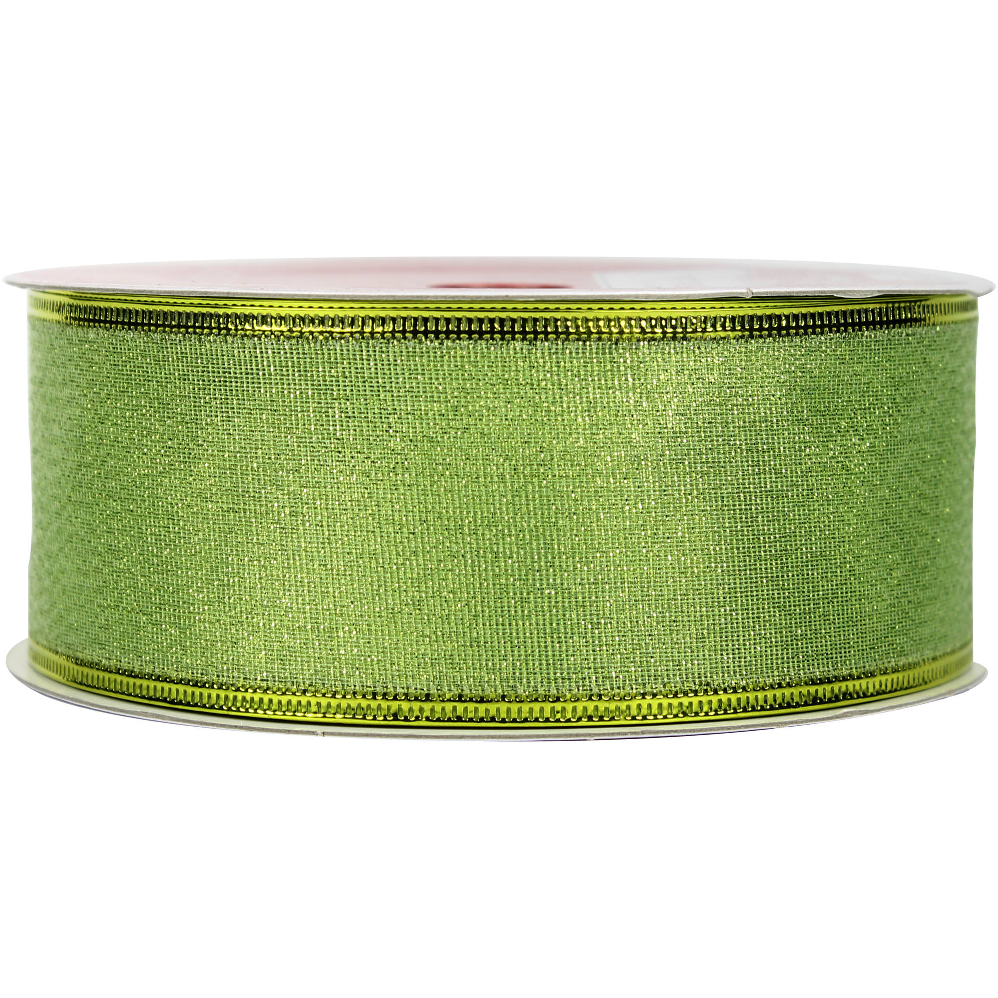 "Holiday Time Christmas Decor Green Metallic Lame 2"" x 75' Ribbon"