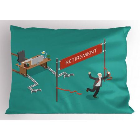 Decorate Office Desk (Retirement Party Pillow Sham Senior Man Breaking Free From Office Desk Chain and Celebrating Retirement, Decorative Standard Size Printed Pillowcase, 26 X 20 Inches, Multicolor, by)