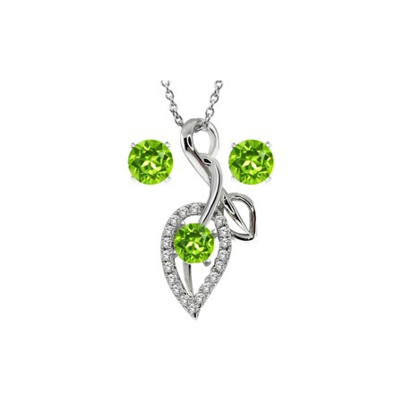 2.00 Ct Round Green Peridot 925 Sterling Silver Pendant and Earrings 18