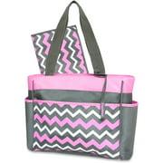Gerber Pink Grey Chevron Tote Diaper Bag