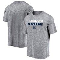 Men's Majestic Gray New York Yankees A Flying Leap Raglan T-Shirt