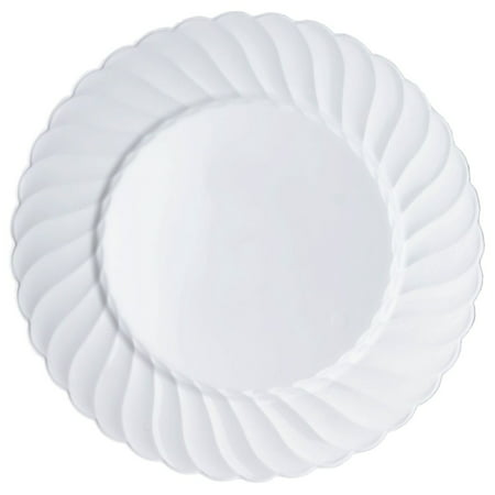 "BalsaCircle 10 pcs Disposable Plastic 10"" wide Round Plates for Wedding Reception Party Buffet Catering Tableware"