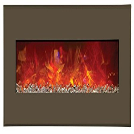 "43"" Electric Fireplace with 51"" x 23"" Modern Auburn Steel Surround"