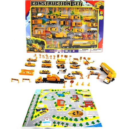 Complete Construction Crew 43 Piece Mini Toy Diecast Vehicle Play Set, Comes with Street Play Mat, Variety of Vehicles and Figures - Construction Toy Set