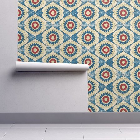 Peel and Stick Removable Wallpaper Flower Blue Red White Modern Circle