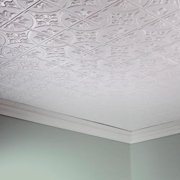 Fasade  Traditional Style #2 Matte White 2' x 4' Glue-up Ceiling Tile