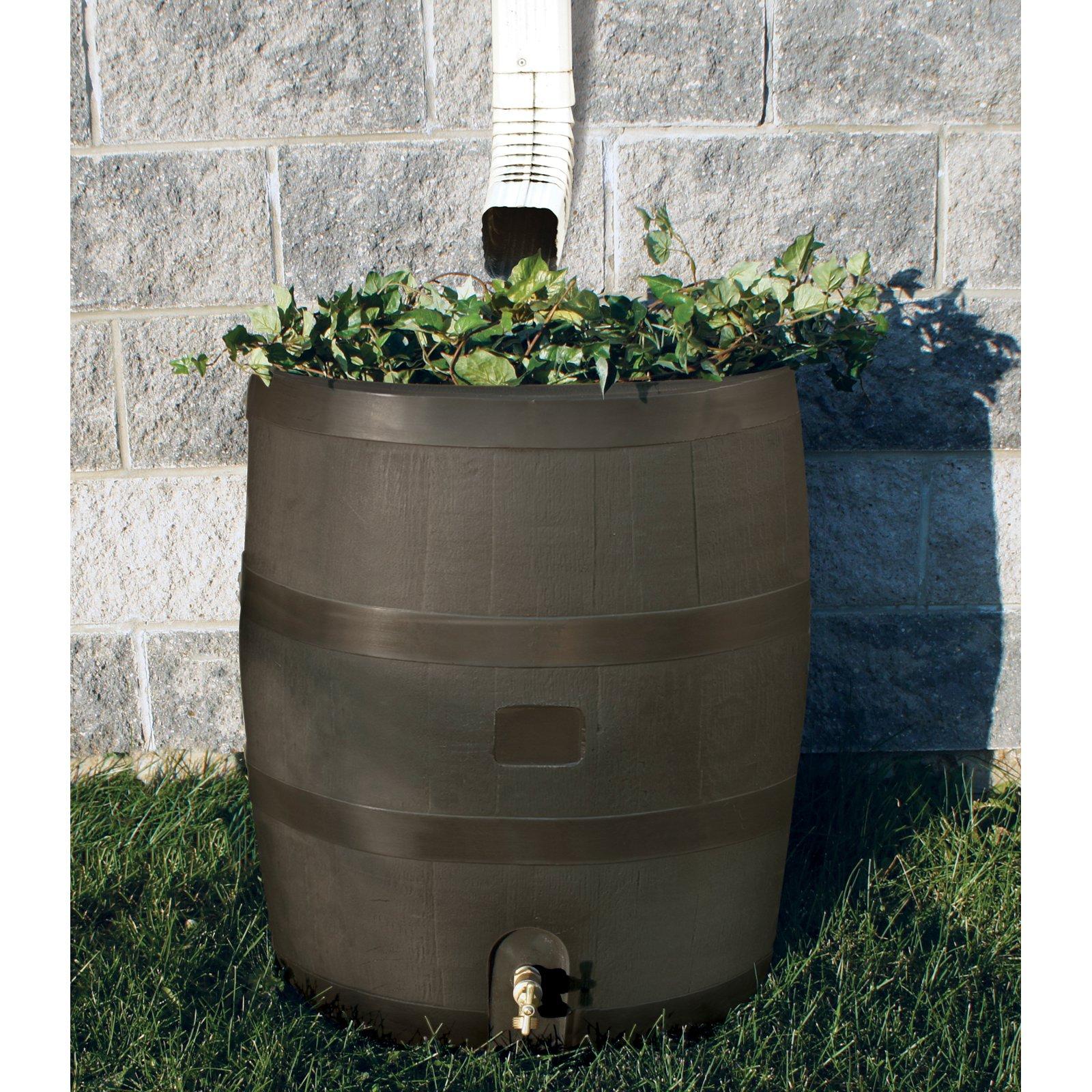 Round Rain Barrel w/ Planter - Mud