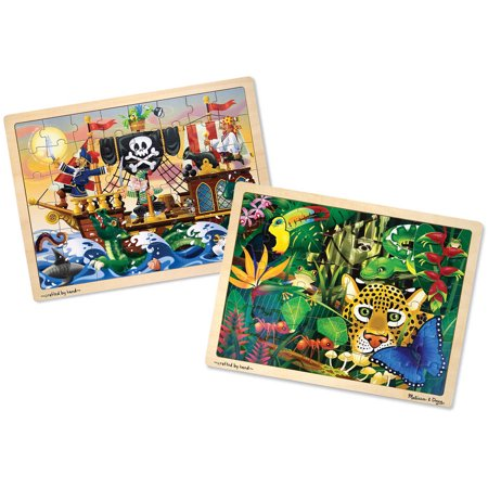 Melissa & Doug Wooden Jigsaw Puzzles Set, Rainforest Animals and Pirate Ship, 48pc