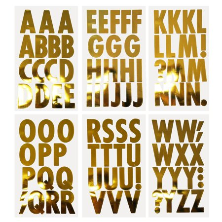 Big Font Alphabet Letter Stickers, Caps, 3-Inch, 82-Count, Metallic Gold