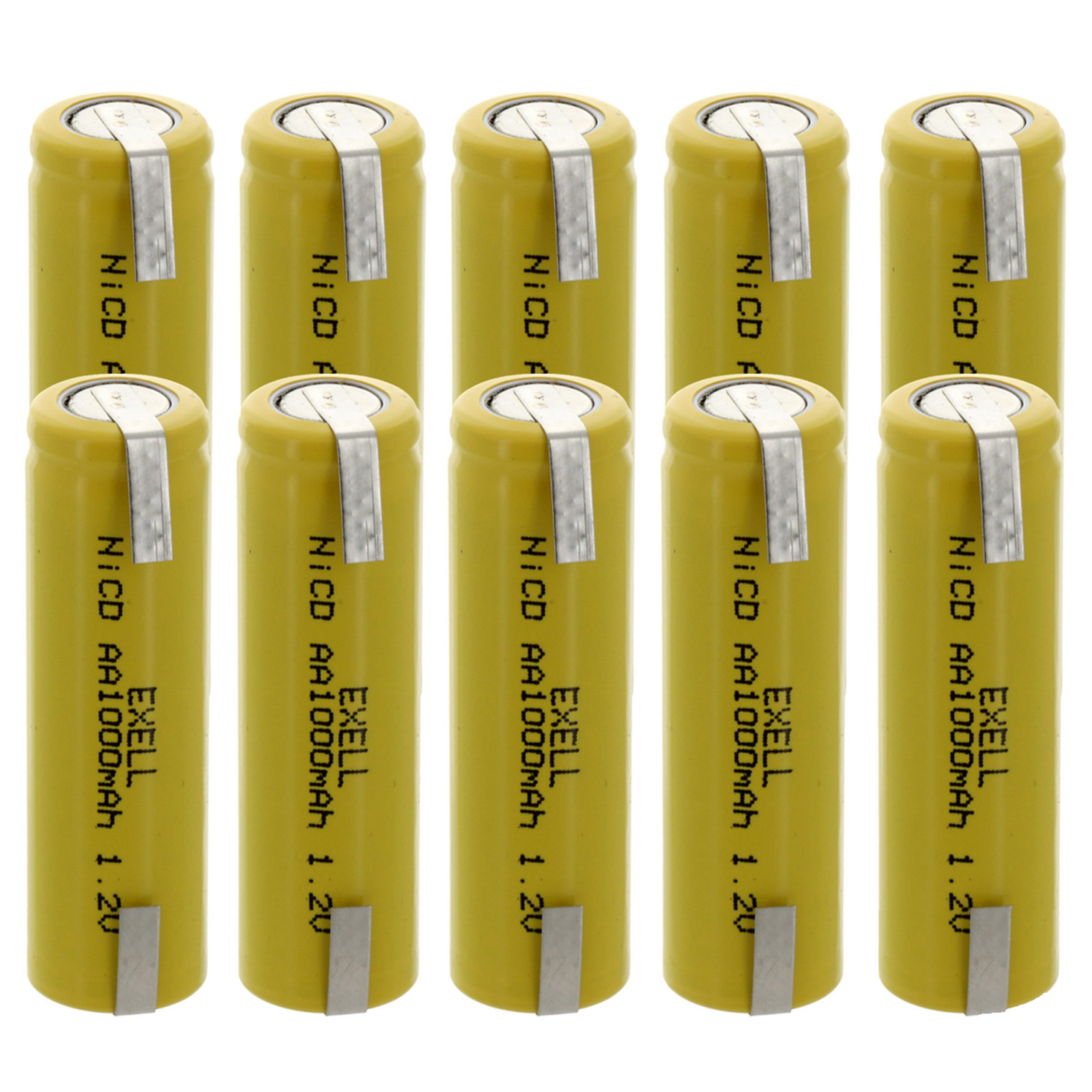 10x Exell AA 1.2V 1000mAh NiCD Rechargeable Batteries with Tabs FAST USA SHIP