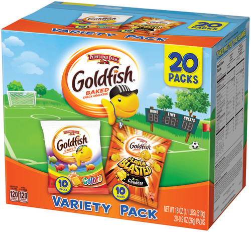 Pepperidge Farm Goldfish Colors Cheddar and Flavor Blasted Xtra Cheddar Crackers, 18 oz. Variety Pack Box, 20-count 0.9 oz. Single-Serve Snack Packs