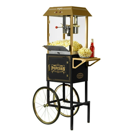 Nostalgia 10 oz Vintage Popcorn and Concession Cart, Makes 40 Cups, 59 in Tall, Black, CCP1000BLK