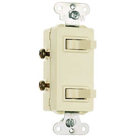Pass and Seymour 680-LA Light Almond Non-Grounding Decorator Two Single Pole Toggle -