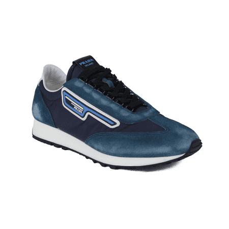 PRADA Men's Suede Retro Trainer Sneaker Shoes Blue