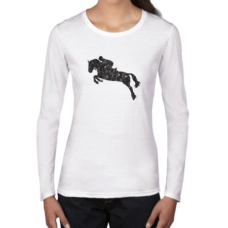 Horseback Riding Show Jumping Equestrian Silhouette Women's Long Sleeve T-Shirt