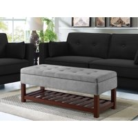 Lifestyle Solutions Ronnie Functional Bench with Storage and Shelf Tufted Microfiber Top, Multiple Colors