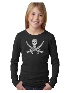 LA Pop Art Girl's Word Art Long Sleeve - PIRATE CAPTAINS, SHIPS AND IMAGERY