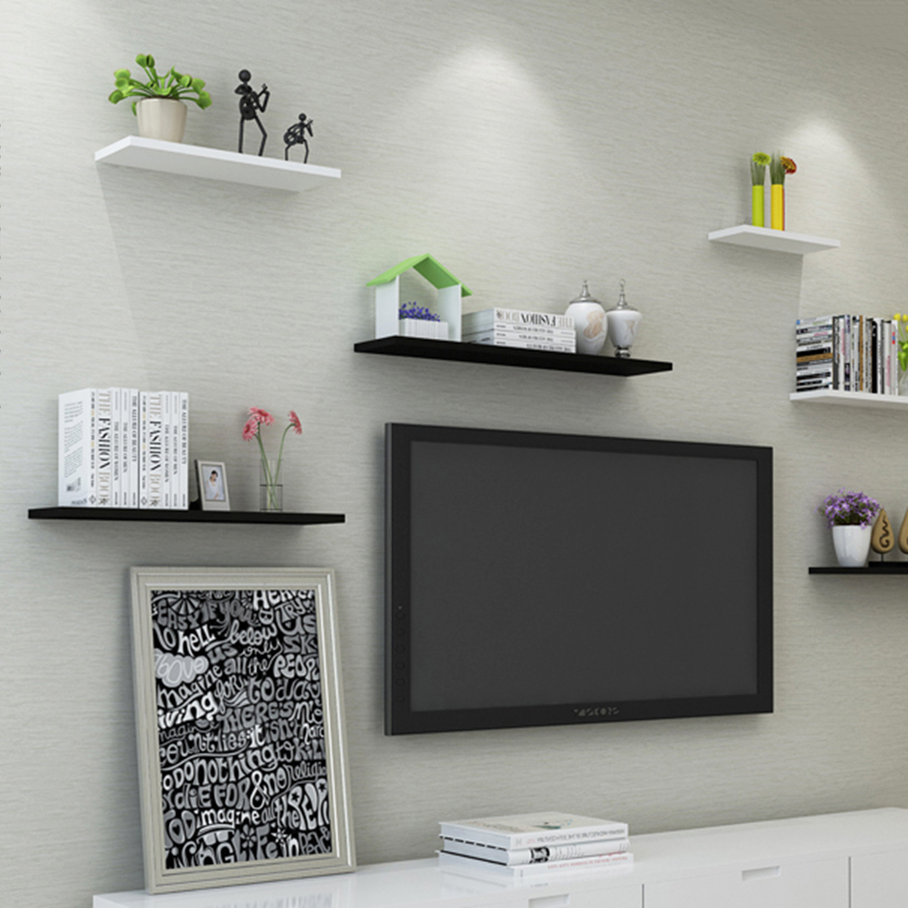 Set of 3 Floating Wall Shelf Storage Display Shelves wall and Ledges Decorative Shelving, Black