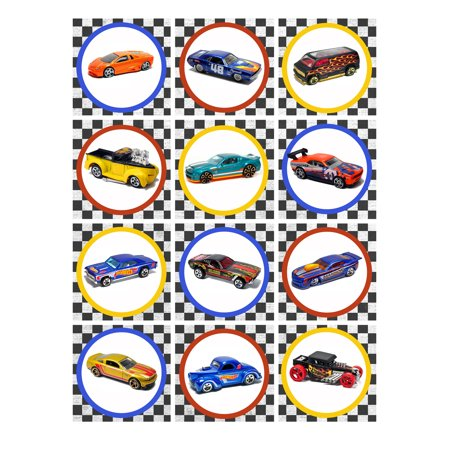12 Hot Wheels Edible Image Sheets Cupcake and Cookie Toppers (Prem Frosting) - Hot Wheels Cupcake Toppers