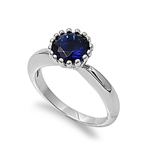 Simulated Sapphire Cubic Zirconia Stone Crown Set Ring Rhodium Plated Brass by