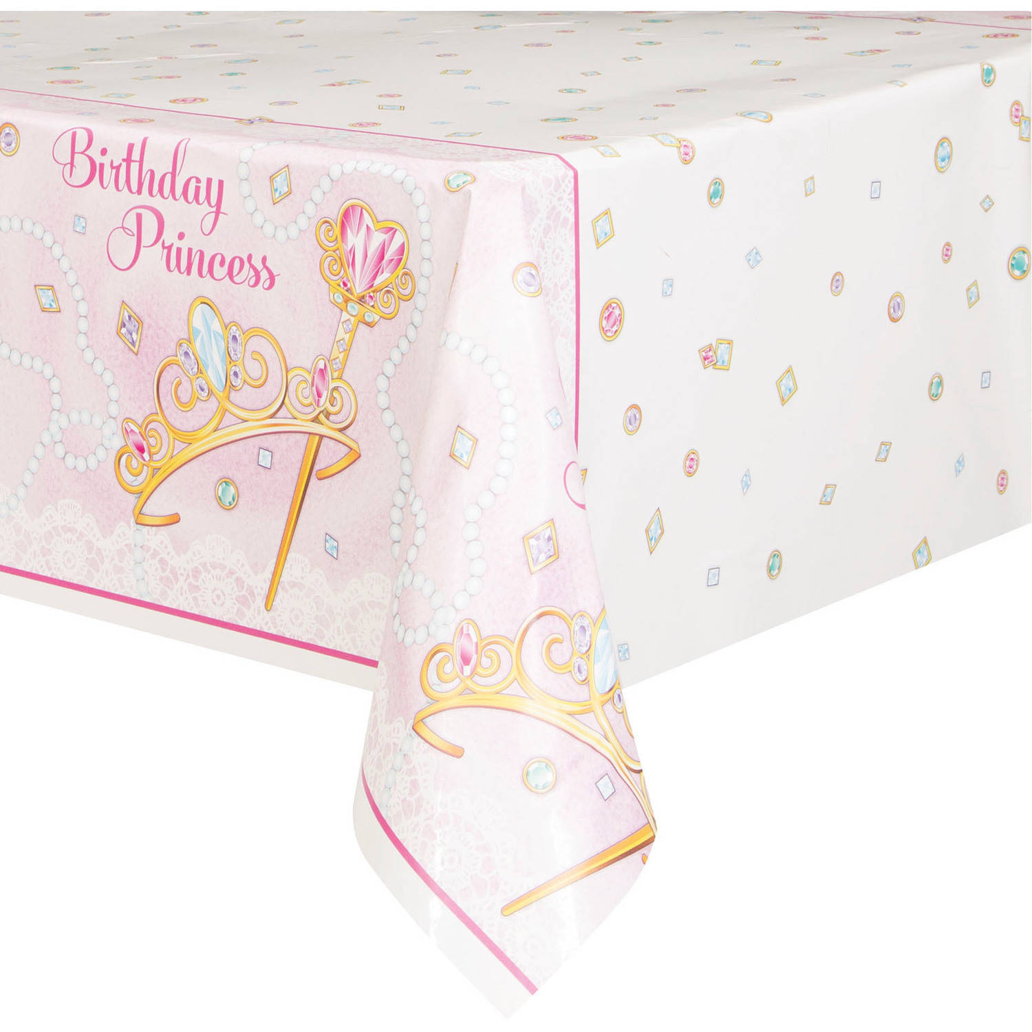 """Plastic Jeweled Pink Princess Table Cover, 84"""" x 54"""""""