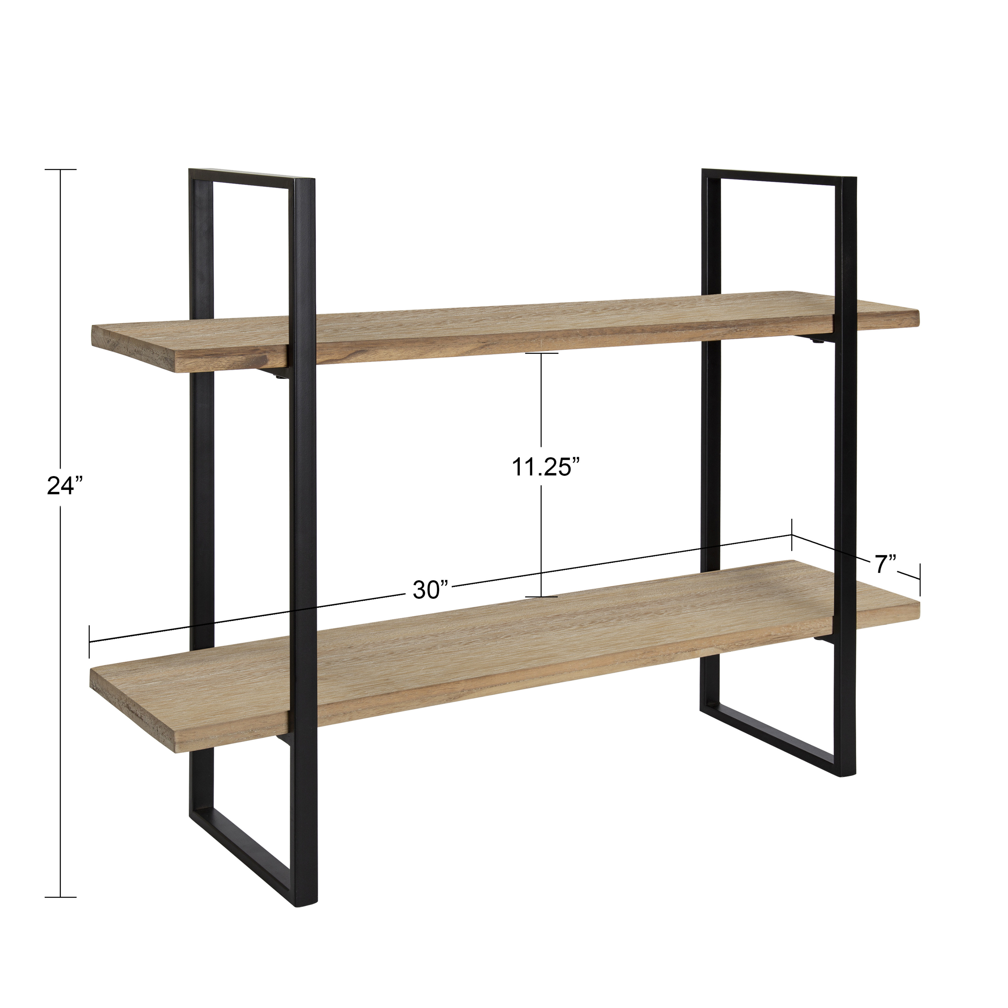Kate And Laurel Leigh Wood And Metal Wall Shelf 30 X 24 Rustic Brown And Black Unique Modern Farmhouse Decor With Efficient Storage Shelves For Smaller Spaces Walmart Com Walmart Com