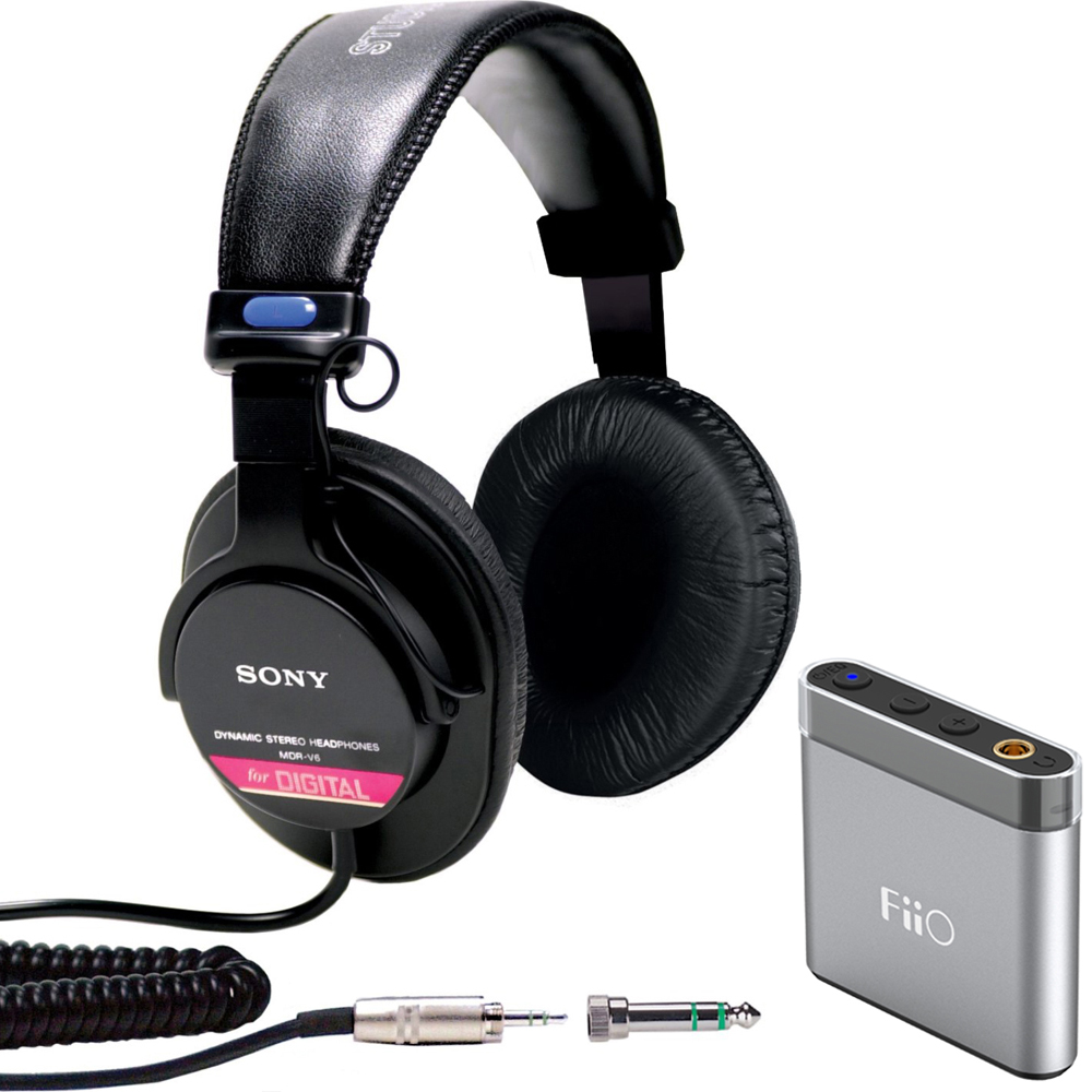 Sony Studio Monitor Headphones with CCAW Voice Coil (MDR-V6) with FiiO A1 Portable Headphone Amplifier Silver