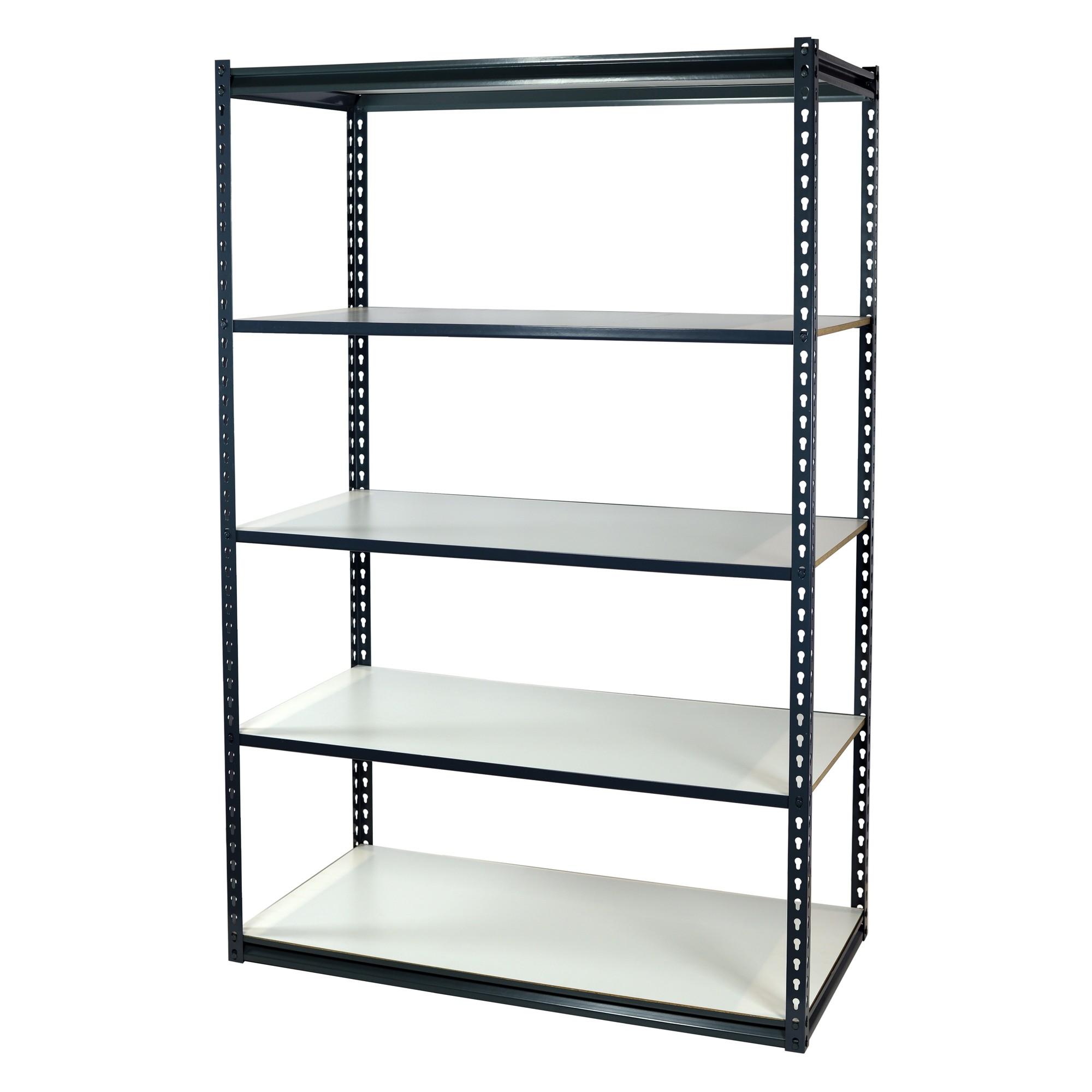 Storage Max Garage Shelving Boltless, 48 x 12 x 72, Low Profile, 5 Shelves
