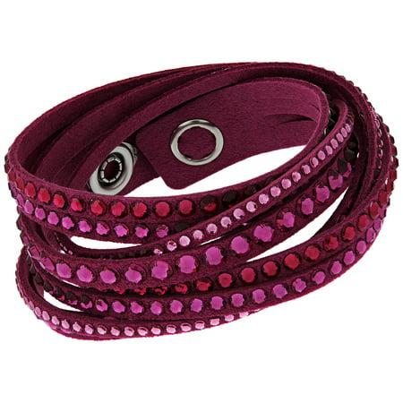 Swarovski Slake Fuchsia Alcantara Snap Button Wrap Bracelet for Women 5124127