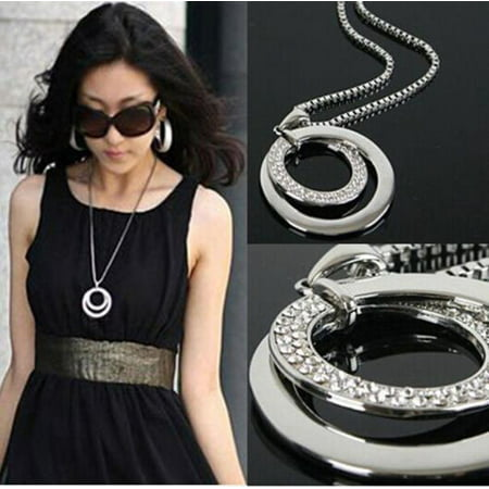 Outtop Long Chain Women Fashion Crystal Rhinestone Silver Plated Pendant Necklace -