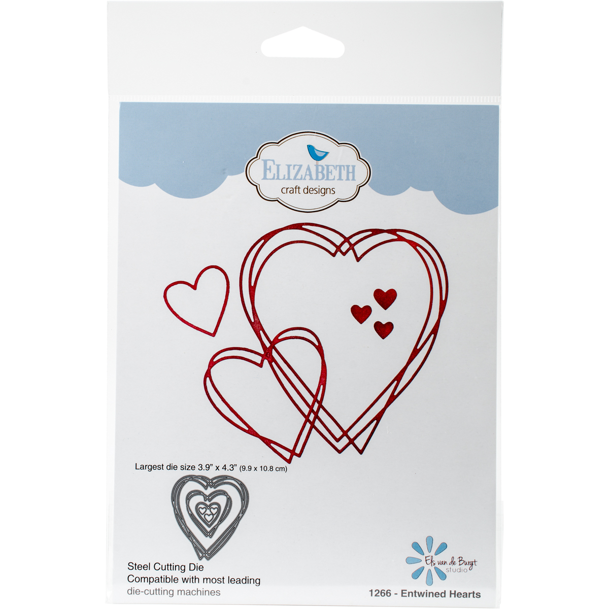 "Elizabeth Craft Metal Die-Entwined Hearts, 3.9""X4.3"""