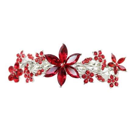 Faship Gorgeous Floral Crystal - Crystal Barrettes