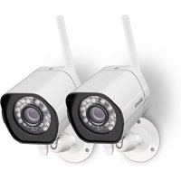 Zmodo 2 Pack Wireless Security Camera System Smart Outdoor WiFi IP Cameras Night Vision Cloud Service Available(Renewed)