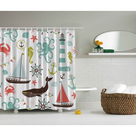 Sea Creatures Shower Curtain Extra Long 84 Inch