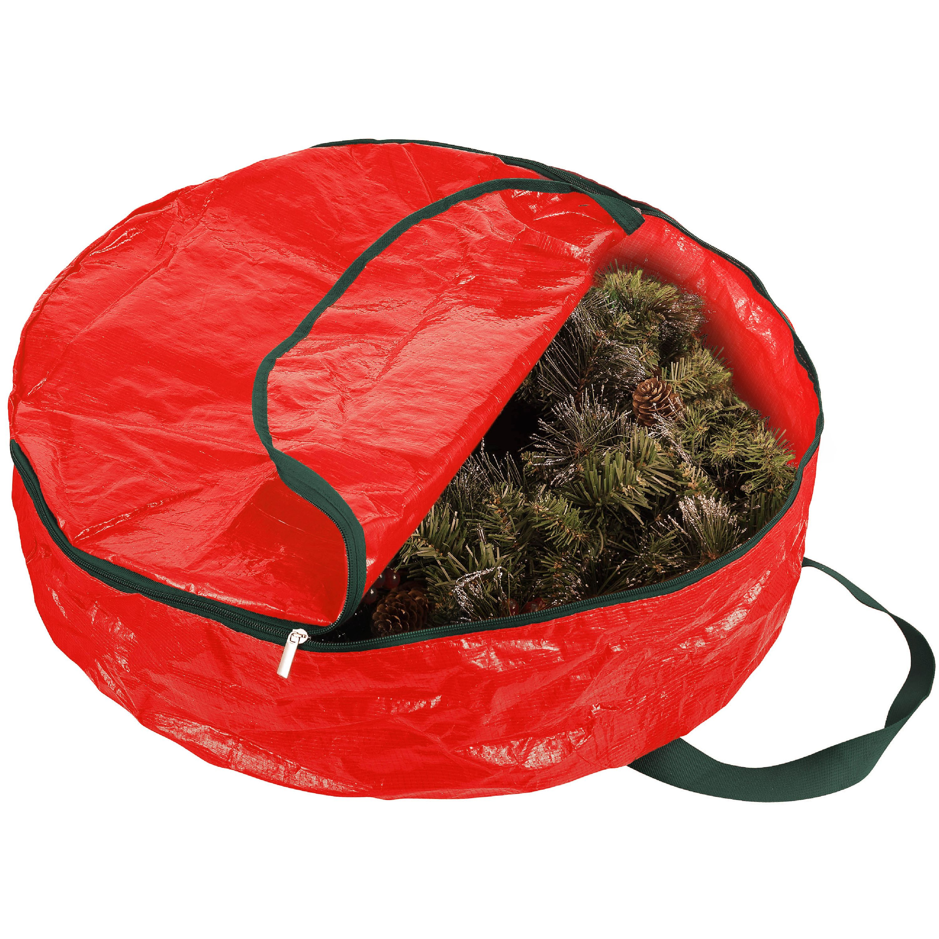 Zober Christmas Wreath Storage Bag - 30 X 30 X 8 in. With Tear Resistant Material, Featuring Transparent Card Slot - Red
