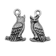 Antiqued Silver Lead-Free Charm - Perched Owl 22.5mm (2)
