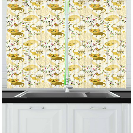 Kids Curtains 2 Panels Set, Happy Smile Cats Kittens with Hearts Abstract Floral Figures Childhood Joy Fantasy, Window Drapes for Living Room Bedroom, 55W X 39L Inches, Multicolor, by Ambesonne