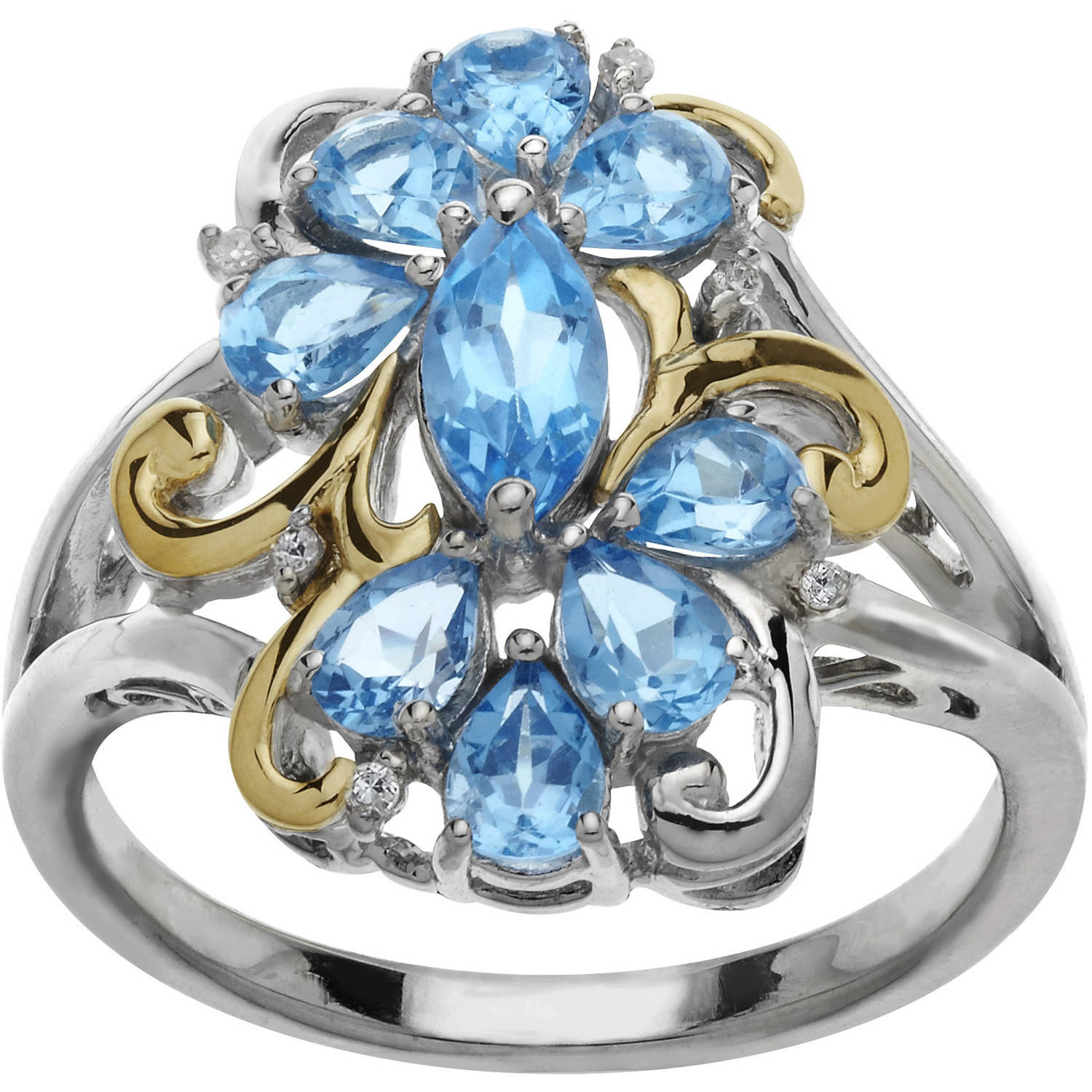 Duet Blue Topaz and .03 Carat T.W. Diamond Cluster Sterling Silver and 10kt Yellow Gold Ring