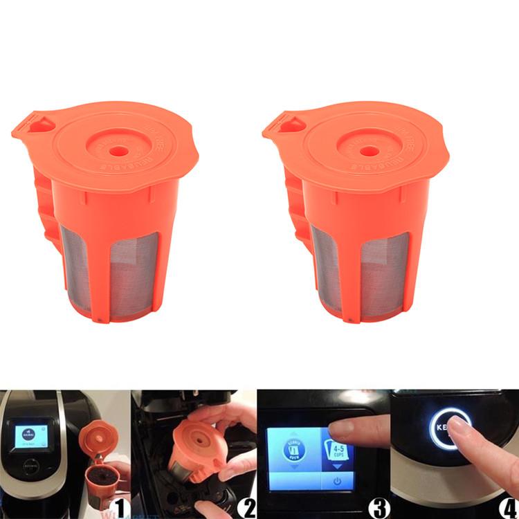 2PCS Reusable K-Carafe Filter,Refillable Coffee Cup Filter For Keurig 2.0 K200 K250 K300 K350, Orange