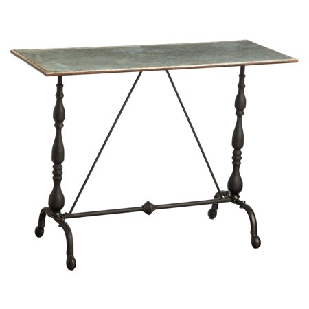 - Evergreen Enterprises Metal Hall Table with Galvanized Top and Cast Metal Legs
