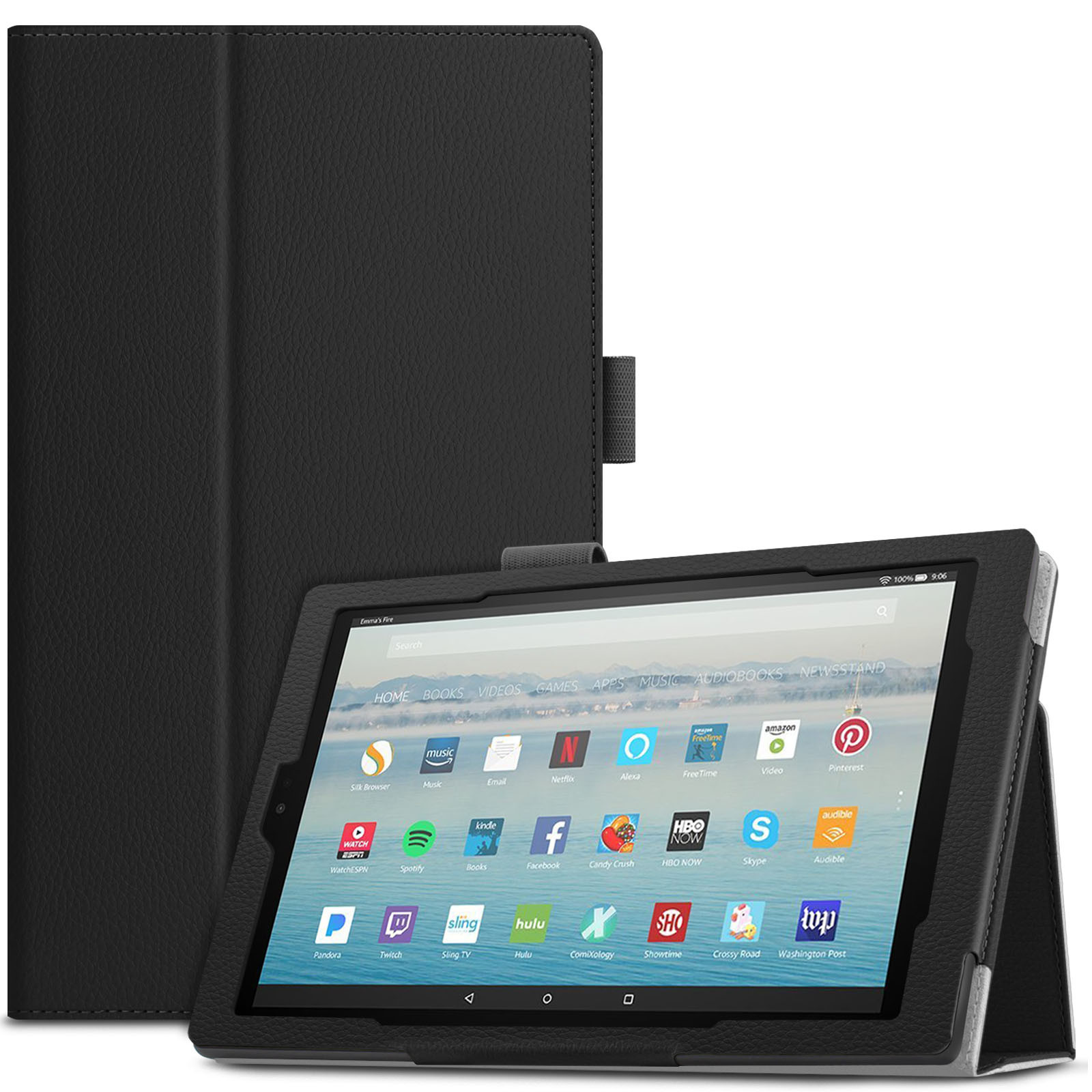 Infiland Folio Smart Case Cover with Auto Sleep/ Wake for All-New Amazon Fire HD 10 (7th Generation, 2017 Release ) Tablet, Black