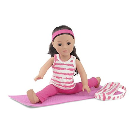 18 Inch Doll Clothes   Pink And White Gymnastics   Yoga Exercise Outfit  Includes Flared Yoga Pants  Animal Print T Shirt  Yoga Mat And Matching Carry Case   Fits American Girl Dolls