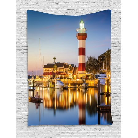 United States Tapestry, Hilton Head South Carolina Lighthouse Twilight Water Reflection Boats Idyllic, Wall Hanging for Bedroom Living Room Dorm Decor, Multicolor, by Ambesonne