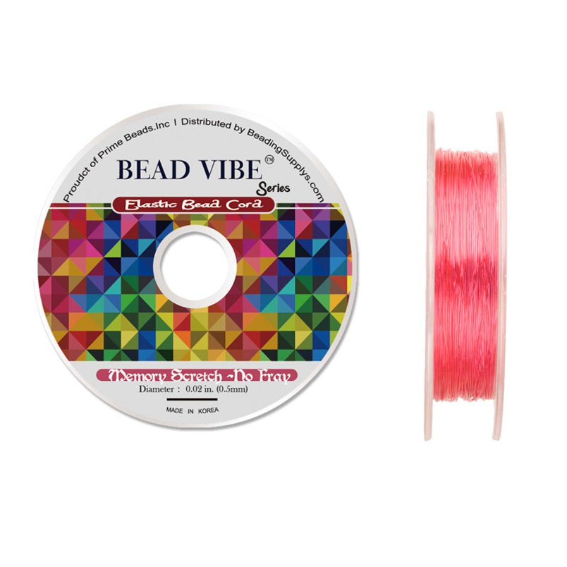 Elastic Bead Cord, Beadvibe Series Memory Stretch Non Fray, Pink 0.5mm Diameter 82ft