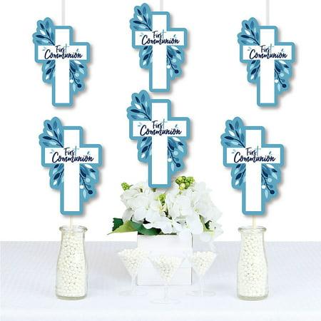 First Communion Blue Elegant Cross - Decorations DIY Boy Religious Party Essentials - Set of 20 (Boys First Communion)