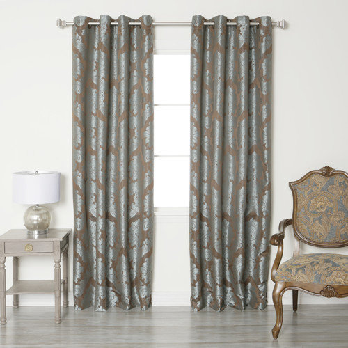 Best Home Fashion, Inc. Damask Jacquard Grommet Top Curtain Panels (Set of 2)