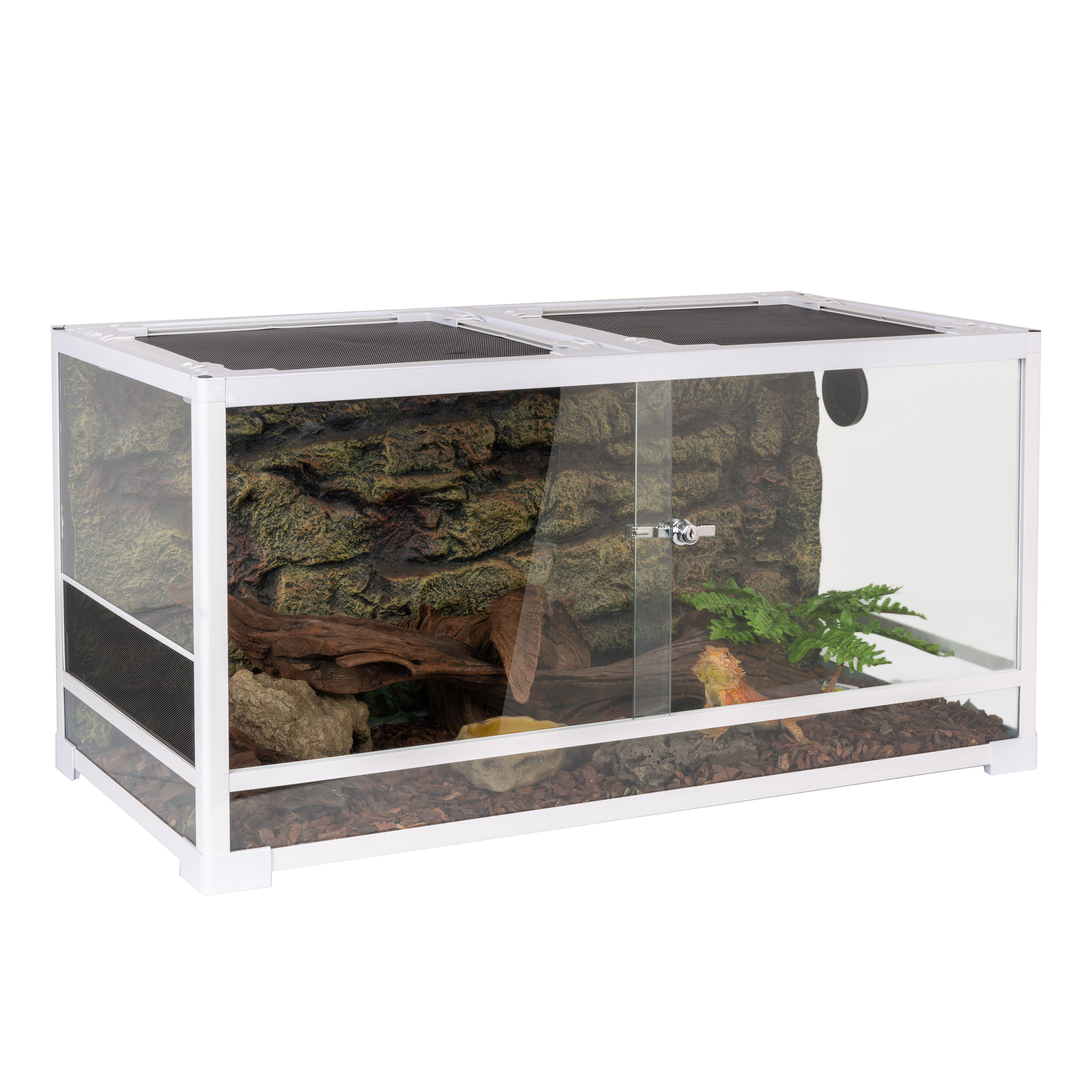 Oiibo Reptile Glass Terrarium Sliding Doors With Screen Ventilation White Reptile Terrarium 36 X 18 X 18 50 Gallon Walmart Com Walmart Com