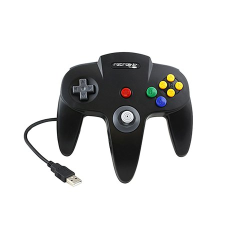 Retrolink Nintendo 64 Style USB Controller for PC, Black, B00MYBLBMY